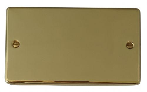 G&H CB32 Standard Plate Polished Brass 2 Gang Double Blank Plate